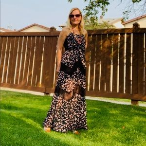 New Candie's  Floral Lace Maxi Boho Party Dress  S